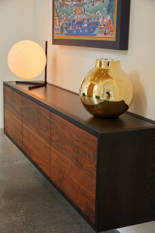 """Furniture by Joe Cauvel of Cauv Design seen at Private Residence, Glen Spey - """"Cave"""" Credenza Wall Mount"""
