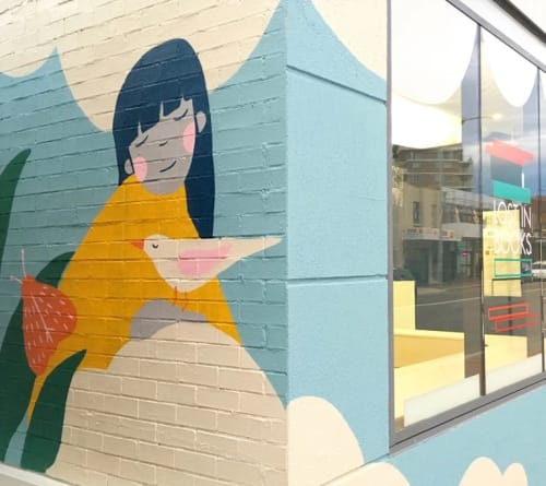 Murals by Kim Siew seen at Lost in Books, the kids' bookshop that speaks your language, Fairfield - Los in Books mural