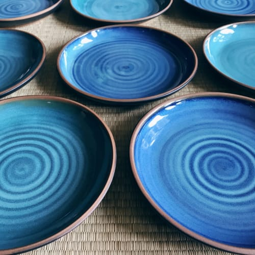 Ceramic Plates by Tina Fossella Pottery seen at Private Residence, Mill Valley - Stoneware Plates
