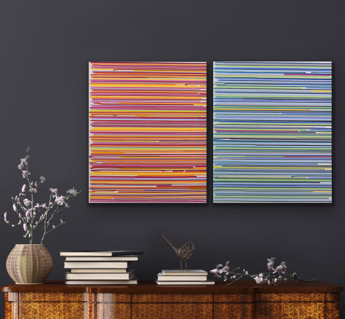 Paintings by Astrid Stoeppel seen at Private Residence, Weilheim in Oberbayern - Divided colors #2