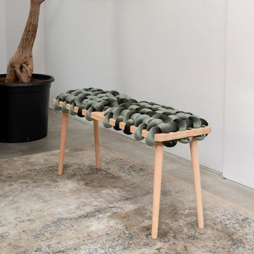 Olive Green Velvet Double Seat Woven Bench | Benches & Ottomans by Knots Studio