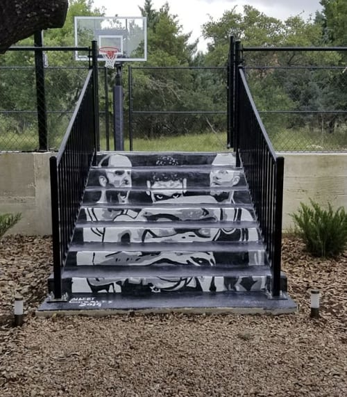 Murals by Albert Gonzales seen at Private Residence, San Antonio - Spurs