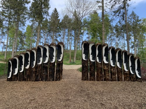 Public Sculptures by Subodh Kerkar seen at North Yorkshire - The Himalayan Garden & Sculpture Park