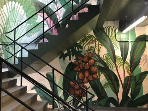 Murals by Josephine Hicks seen at Pergola Olympia London, London - Overgrown Greenhouse Mural