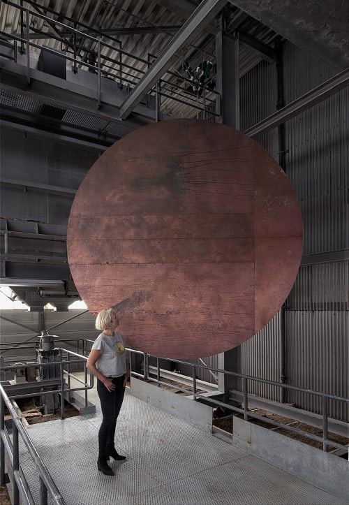 Sculptures by Mikkel Carl seen at The Plant Cph, København - Oxidized faux copper disk