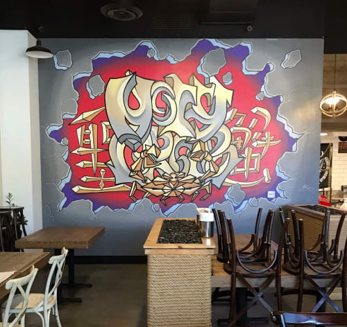 Murals by Avid Illustrations seen at Holy Crab, Arcadia - Holy Crab, Anime/Graffiti Mural