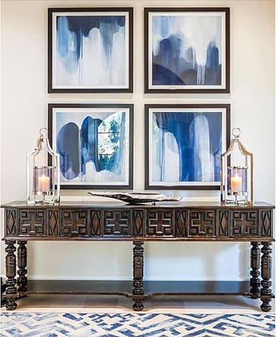 Paintings by TS ModernArt Studio seen at Private Residence, Manhattan Beach - Indigo Blues Series