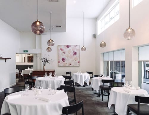 Paintings by Emma Hayes seen at Sid at The French Cafe, Auckland - Petals Blush Artwork