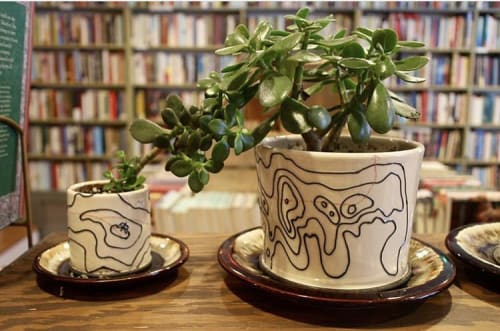 Tableware by Cheyenne Mallo Pottery seen at Magpie Bookshop, Catskill - Porcelain Plant Pot.