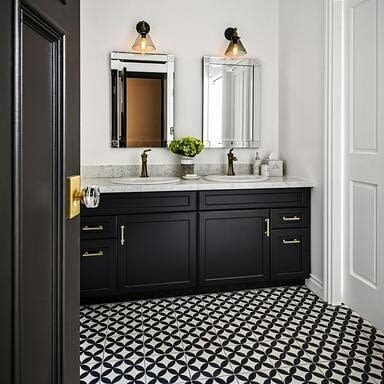 Tiles by Avente Tile at Private Residence, Los Angeles - Mission Circles Encaustic Cement Tile