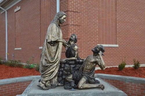 Public Sculptures by Ben Watts Sculpture seen at William Carey University, Hattiesburg - The Great Physician