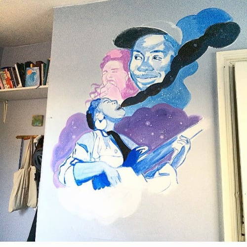"Murals by Kah Yangni seen at Private Residence, Providence - ""beauty is a friend of mine"""