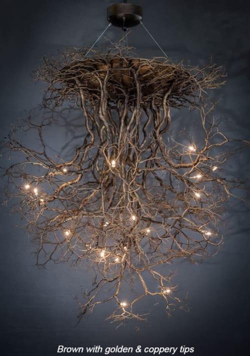 "Chandeliers by Fragiskos Bitros seen at Creator's Studio, Glifada - ""Roots XXL"""