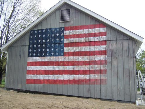 Murals by Andres San Millan seen at Private Residence, Clinton - USA Flag