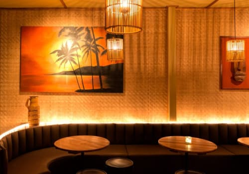 Interior Design by House of Bamboo seen at Enmore, Enmore - Jacobys Tiki Bar - Bamboo Woven Panels & Reed Ceiling