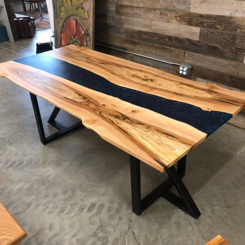 Tables by Black Rose WoodCraft seen at Private Residence, Portland - Oregon Maple & Midnight Blue Resin Dining Table