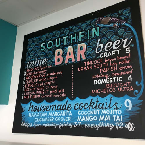 Signage by Ello Artist seen at Southfin Southern Poké, Baton Rouge - Chalkboard