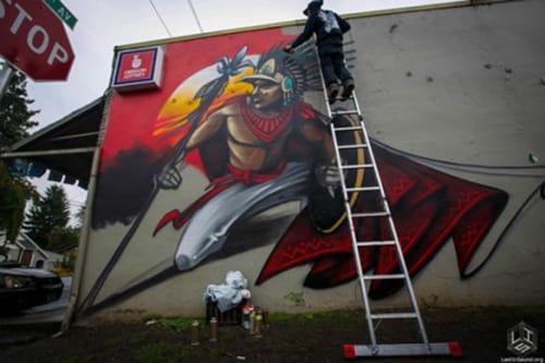 Murals by Ashley Montague seen at Angel Food & Fun, Portland - Aztec Mural