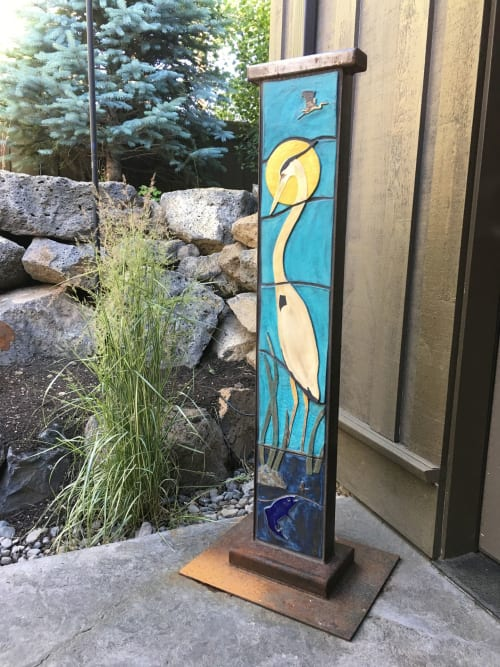 Sculptures by Gregory Fields seen at Private Residence, Bend - Great Blue Heron