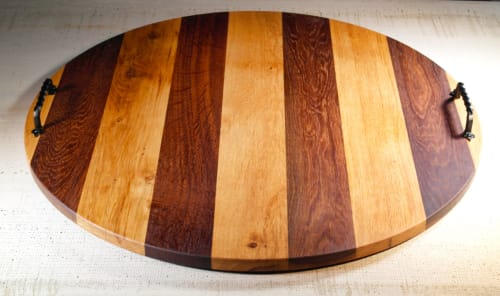Furniture by Todd Alan Woodcraft seen at 5305 NE 121st Ave, Vancouver - Round French Oak and Roasted Oak charcuterie boards
