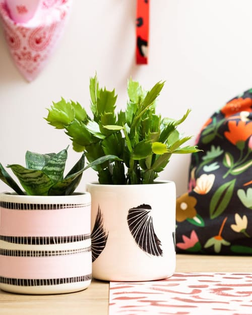 """Vases & Vessels by Christina Mclean - TRADEtheMARK seen at Private Residence - """"Stitched Up Planter - Black & Dusty Pink"""""""