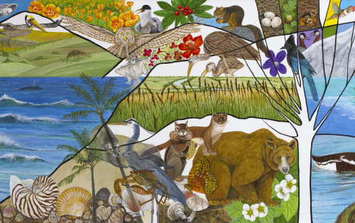 Murals by Trena McNabb seen at Stanford Children's Health | Lucile Packard Children's Hospital Stanford, Palo Alto - Trees, Northern California