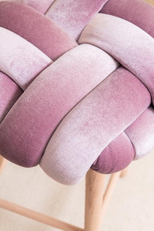 Mauve Velvet Knot Bar Stool | Chairs by Knots Studio