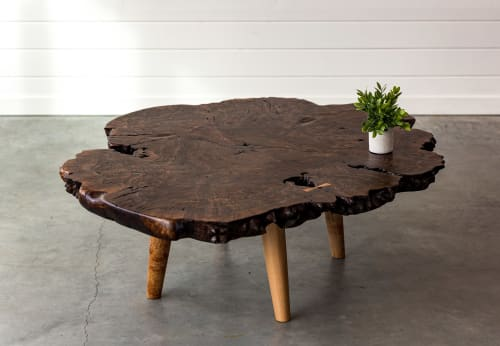 Tables by SAW Live Edge seen at SAW Live Edge Studio, Kimberley - Black Walnut Burl Live Edge Coffee Table | Sleek Rustic | Maple Tapered Legs |