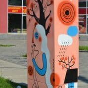 Murals by Melika Saeeda seen at Markham Road, Toronto - Bell Box Mural Project