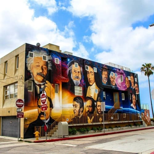 Murals by Levi Ponce seen at Venice Beach Boardwalk, Los Angeles - Visionaries