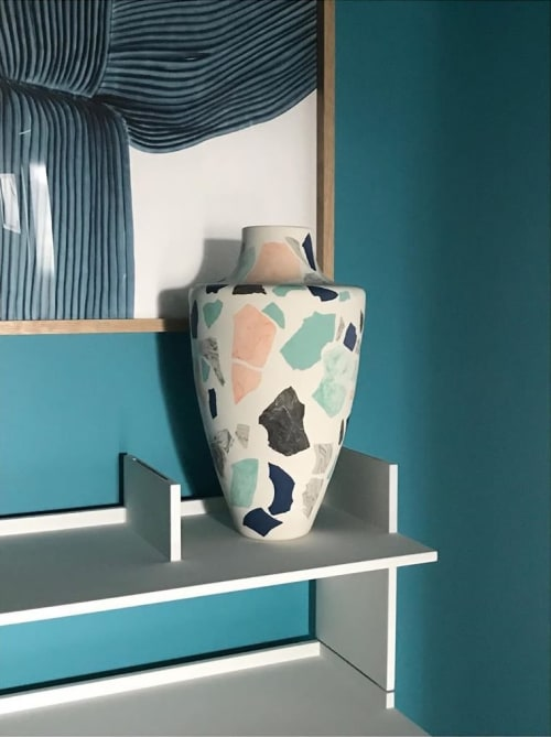 Vases & Vessels by Natascha Madeiski seen at Private Residence, Lincoln - Shades of blue Terrazzo Vase