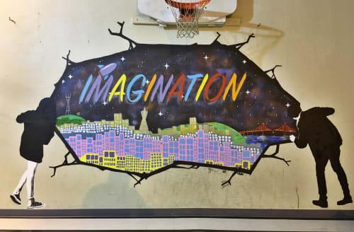 "Murals by Strider Patton seen at San Francisco, San Francisco - ""Imagination"""