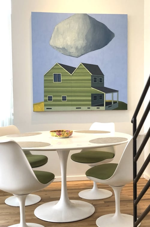 Paintings by Scott Redden seen at Private Residence, Jersey City - 'Double House' original oil painting by Scott Redden