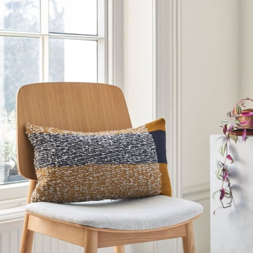 Pillows by Charlotte Wakefield seen at Private Residence, London - BLOCK CUSHION - R OCHRE