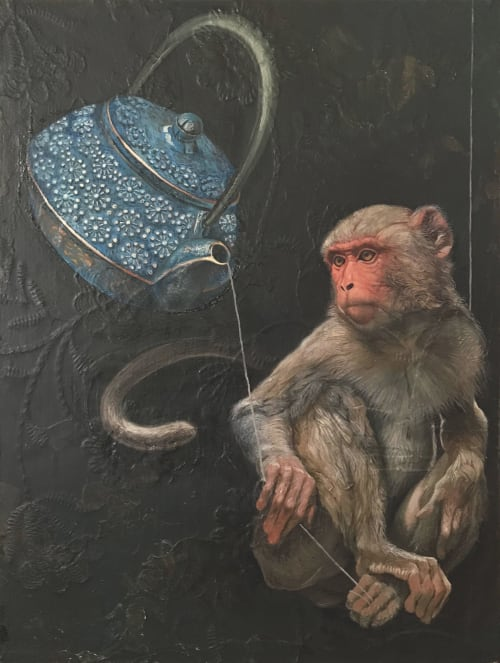 Paintings by O.M. Norling seen at Private Residence, Austin - OMNISCIENCE IS THE BACKUP PLAN
