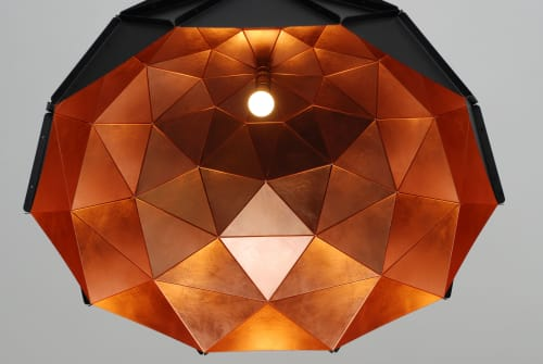 Chandeliers by ADAMLAMP seen at Private Residence, Budapest - Sun Chandelier 100 Copper Matte Black