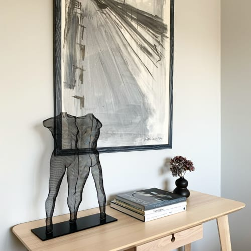 Sculptures by David Begbie MRSS seen at Private Residence, Southampton - Wire-Mesh Sculpture Double Figure 'VUTUU'