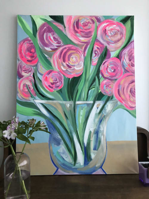 Paintings by Nicole Aimee Durocher seen at Creator's Studio, Vancouver - Peonies in a Vase (Study)