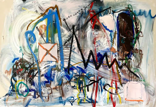 Paintings by shane bowden seen at Avalon Beach, Avalon Beach - Riding with Ravi