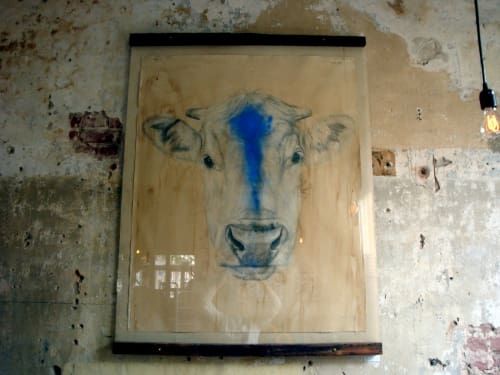 Paintings by Meagan Donegan at Pizzaiolo, Oakland - Blue Cow