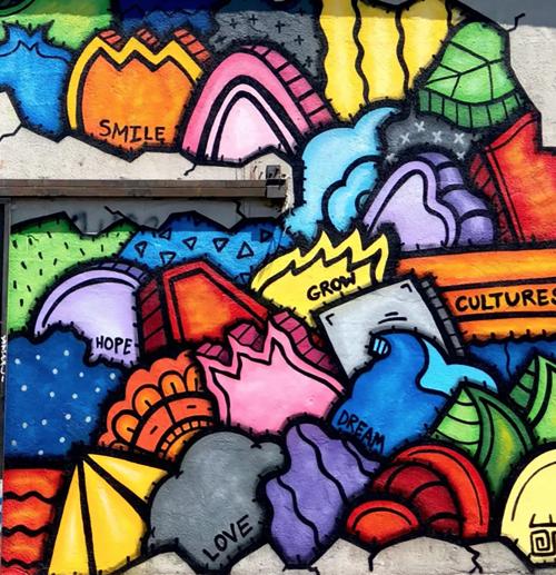 Street Murals by Alloyius Mcilwaine Art seen at 401 E 6th St, Los Angeles - Skid Row Cornucopia Mural