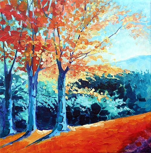 Paintings by Catherine Twomey seen at i.d.e.a. Museum, Mesa - Saw Mill Hill Road, Vermont Autumn