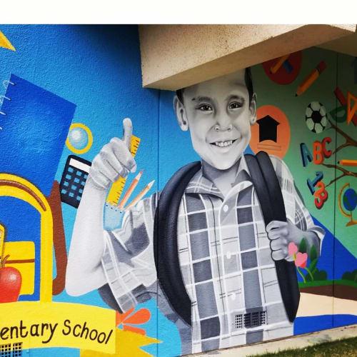 Murals by Juan Pablo Reyes seen at Lockwood Elementary School, Bothell - Mural