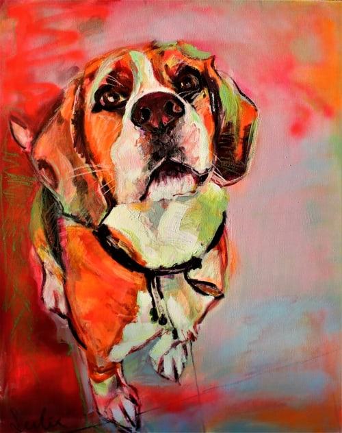 Paintings by Liesbeth Serlie seen at Flegelstraat 1, Brakel - Beagle portret