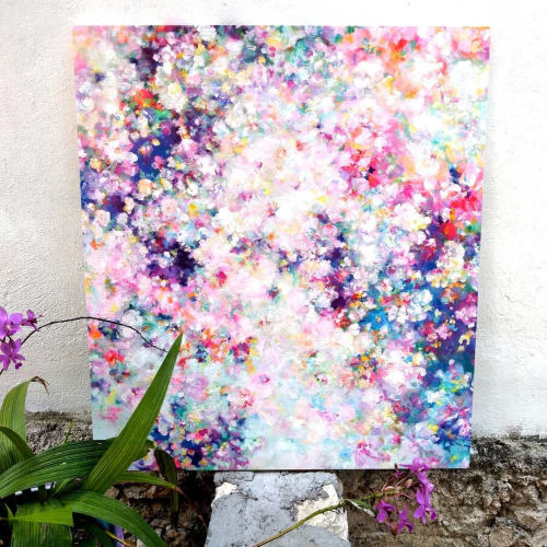 Paintings by Silvia Cid Art seen at Private Residence, Xul-Ha - EDÉN II Abstract floral painting