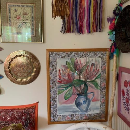 Paintings by Paula Mills seen at Alexandra Felgate's Home, Adelaide - Proteas