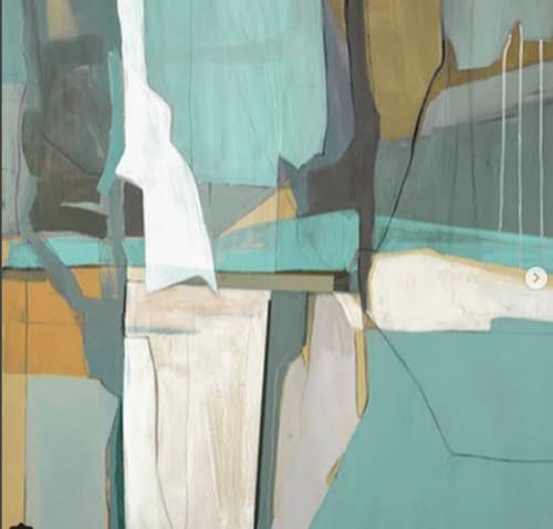 Paintings by Mary Elizabeth Peterson at Hampton Inn & Suites by Hilton Miami Brickell Downtown, Miami - Saugatuck in Teal