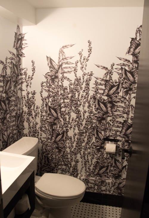 Wallpaper by Candice Kaye Design seen at Pantry Rosedale, Toronto - Custom Wallpaper