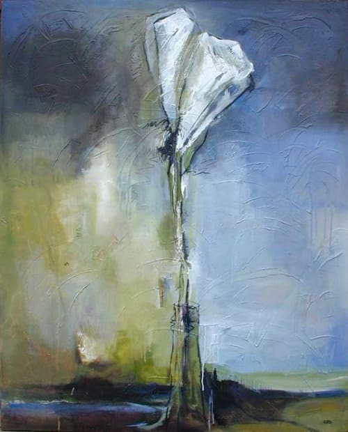 "Paintings by Christina Doelling, Abstract Artist seen at Private Residence, Atlanta - ""Callas in Vase"" 