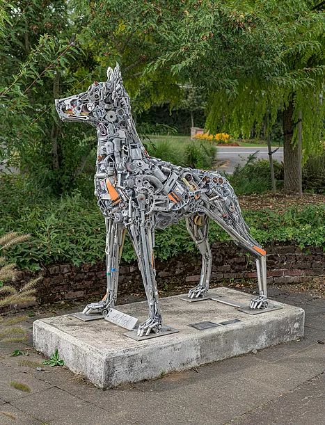 Sculptures by Brian Mock seen at Hazelia Field Dog Park, Lake Oswego - Guardian of the Lake